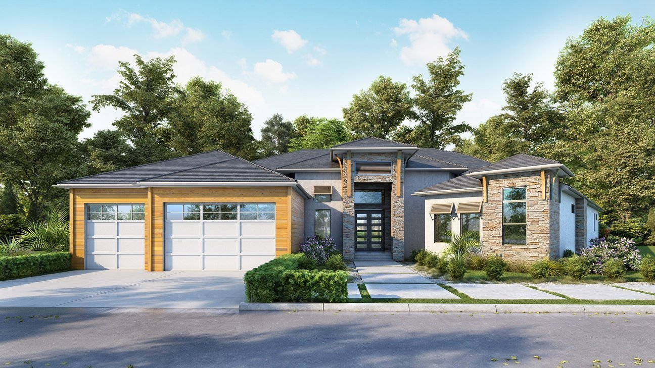 Residential Exterior with two-car garage