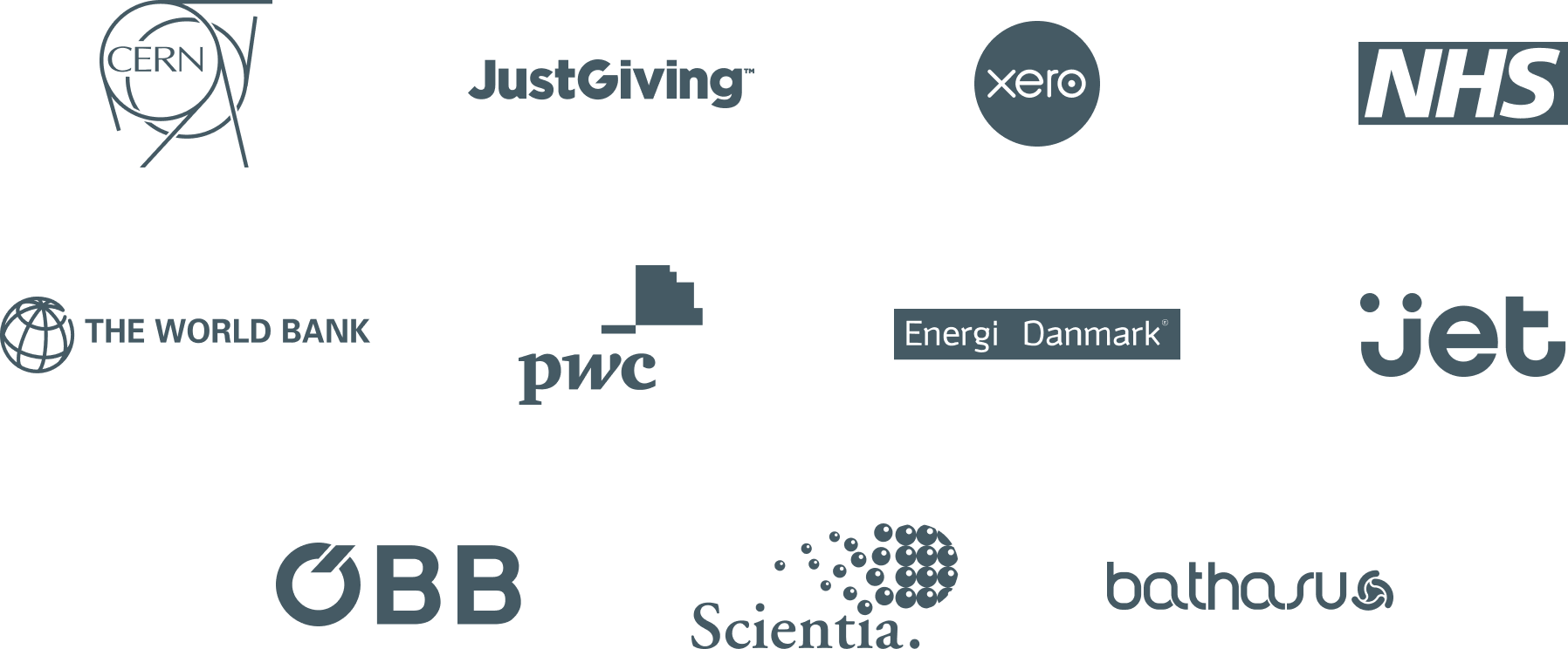 Logos for CERN, JustGiving, Bath ASU, OBB, Jet, Xero and The World Bank