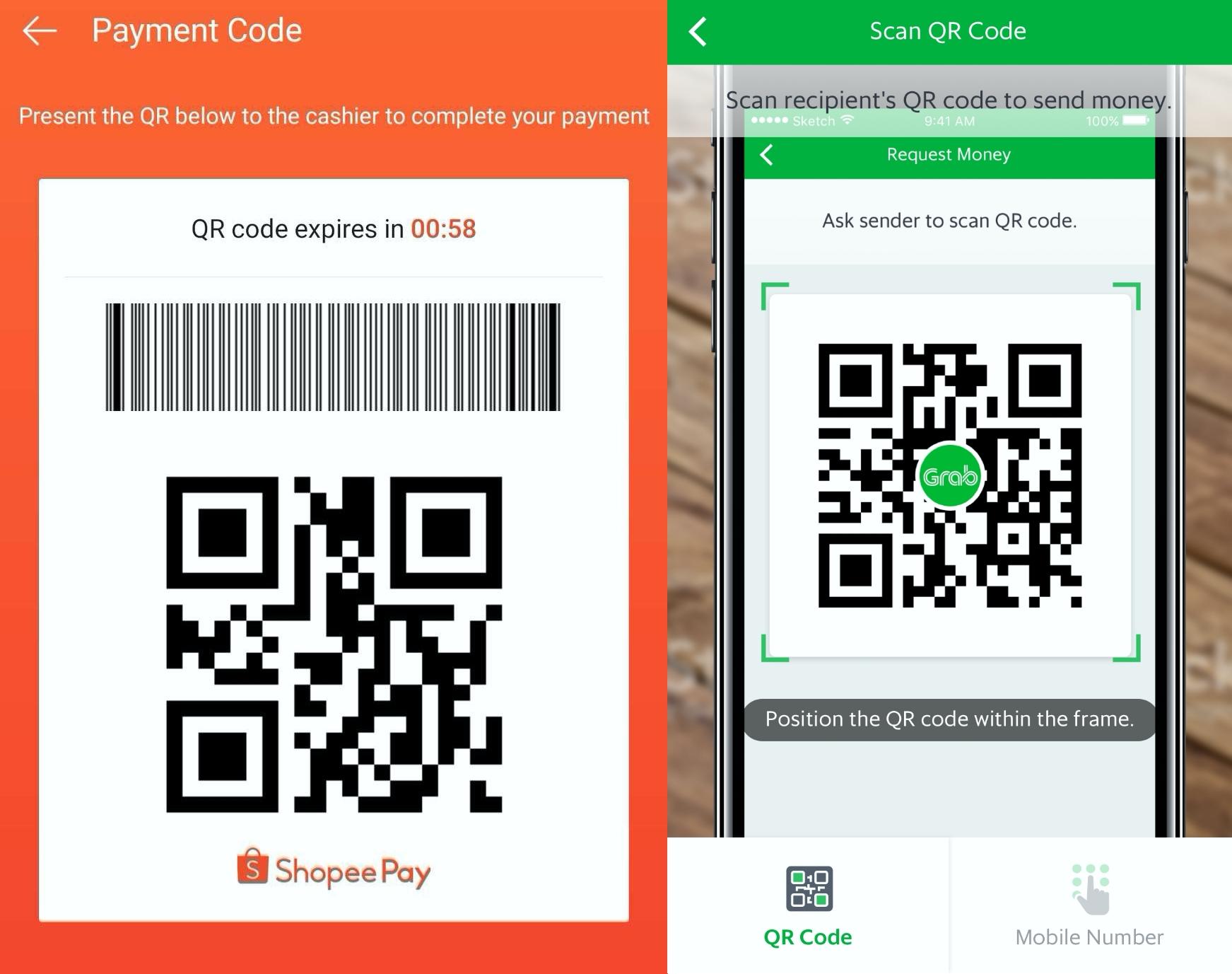 grabpay, shopeepay, qr code, merchant, scan to pay, app