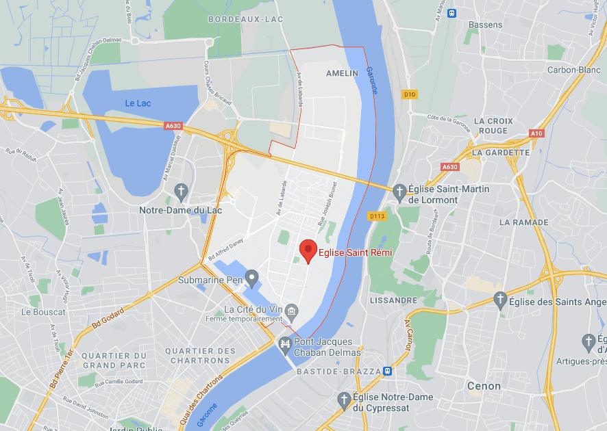 localisation sur carte du quartier Bacalan à Bordeaux