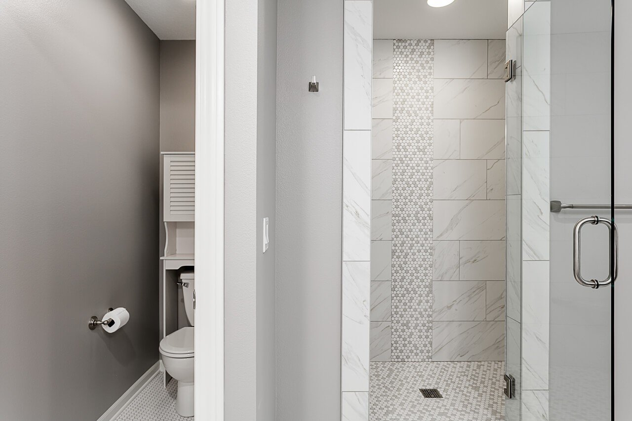 Awesome tiled shower in this remodel