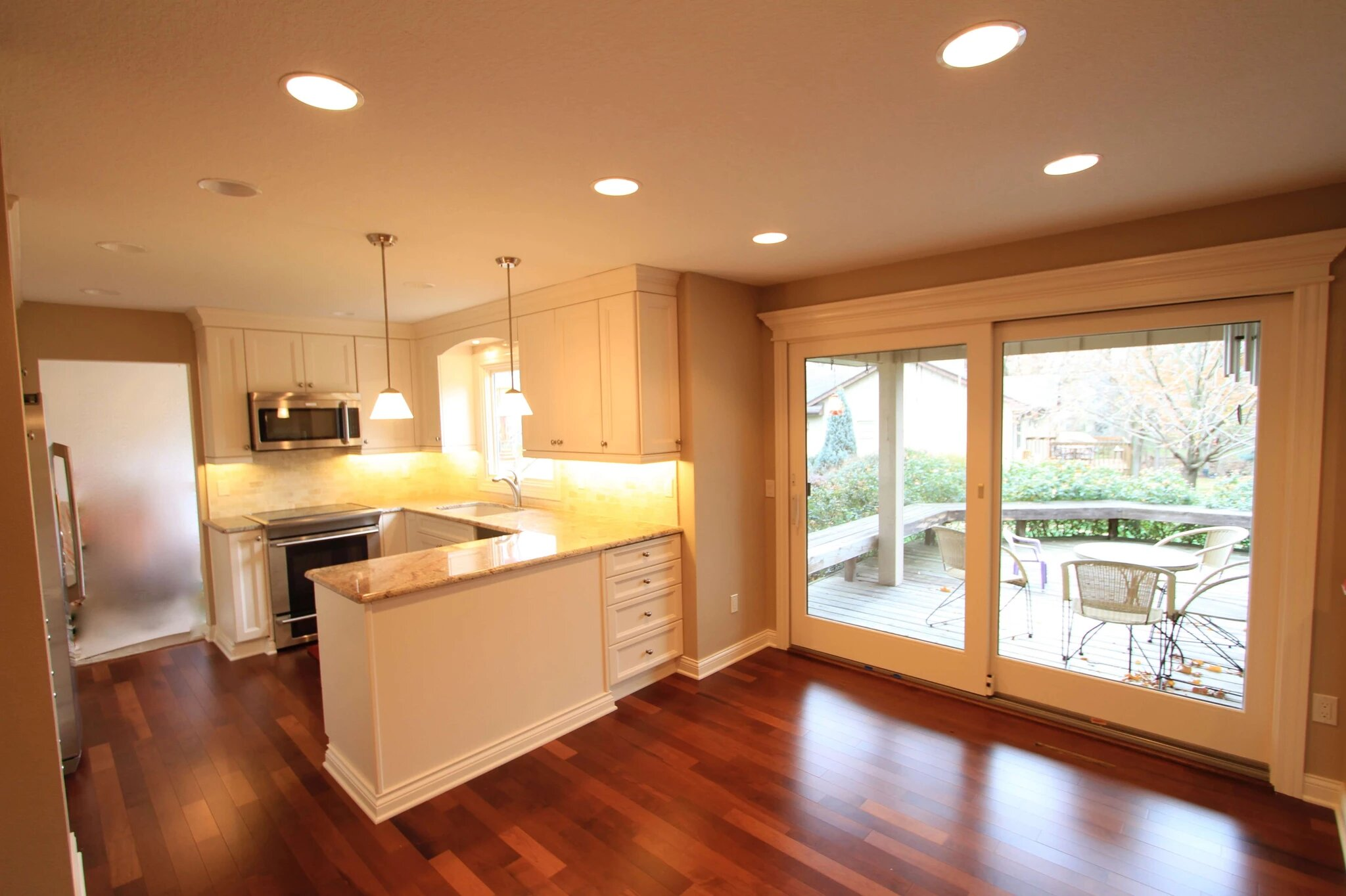 Beautiful wood floor in remodeled kitchen