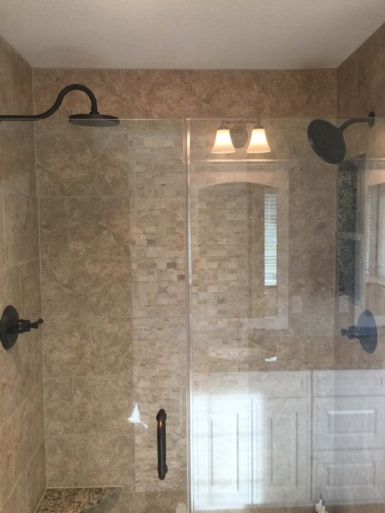 Huge tiled master shower