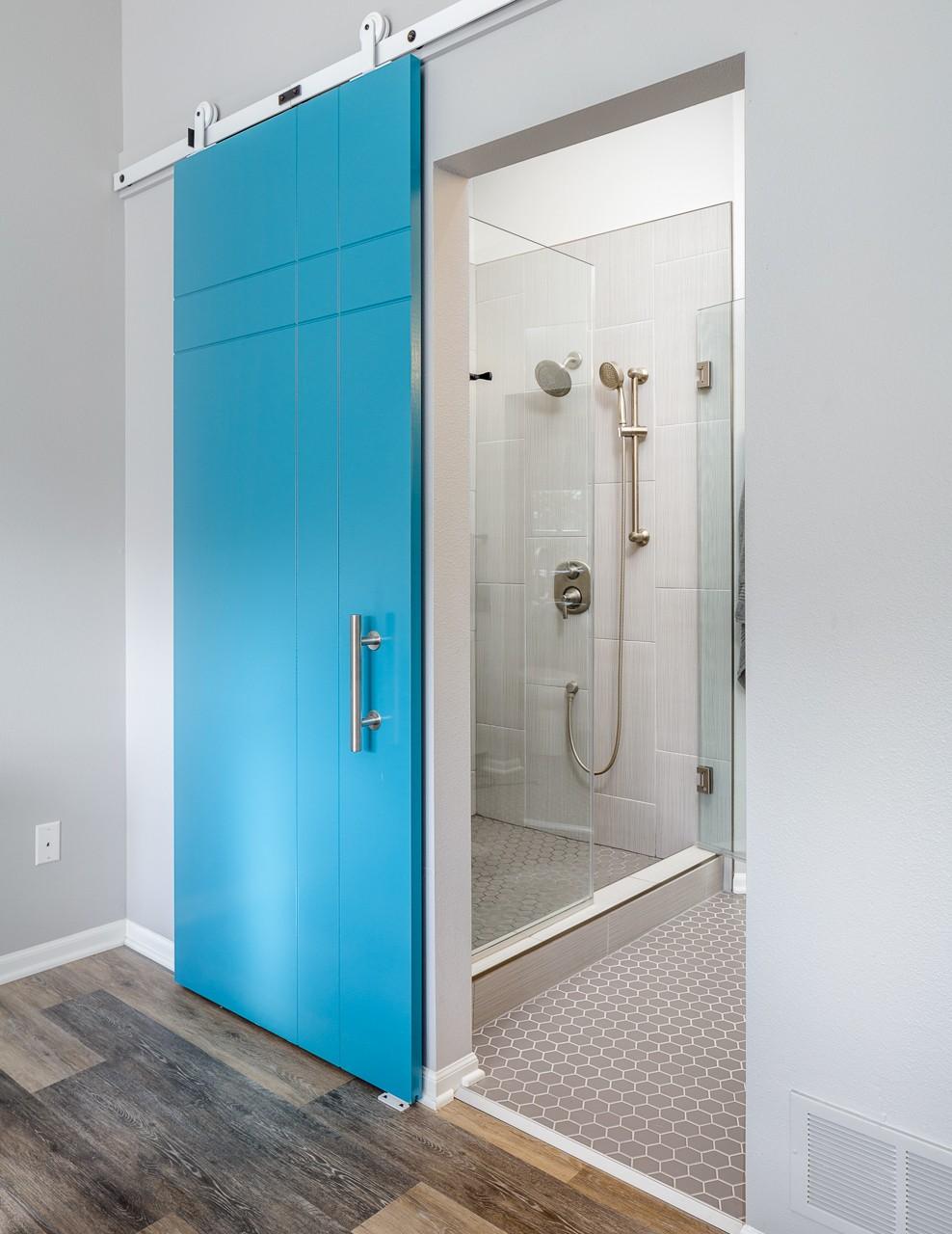 Cool Barn Door in Master Bathroom Remodel