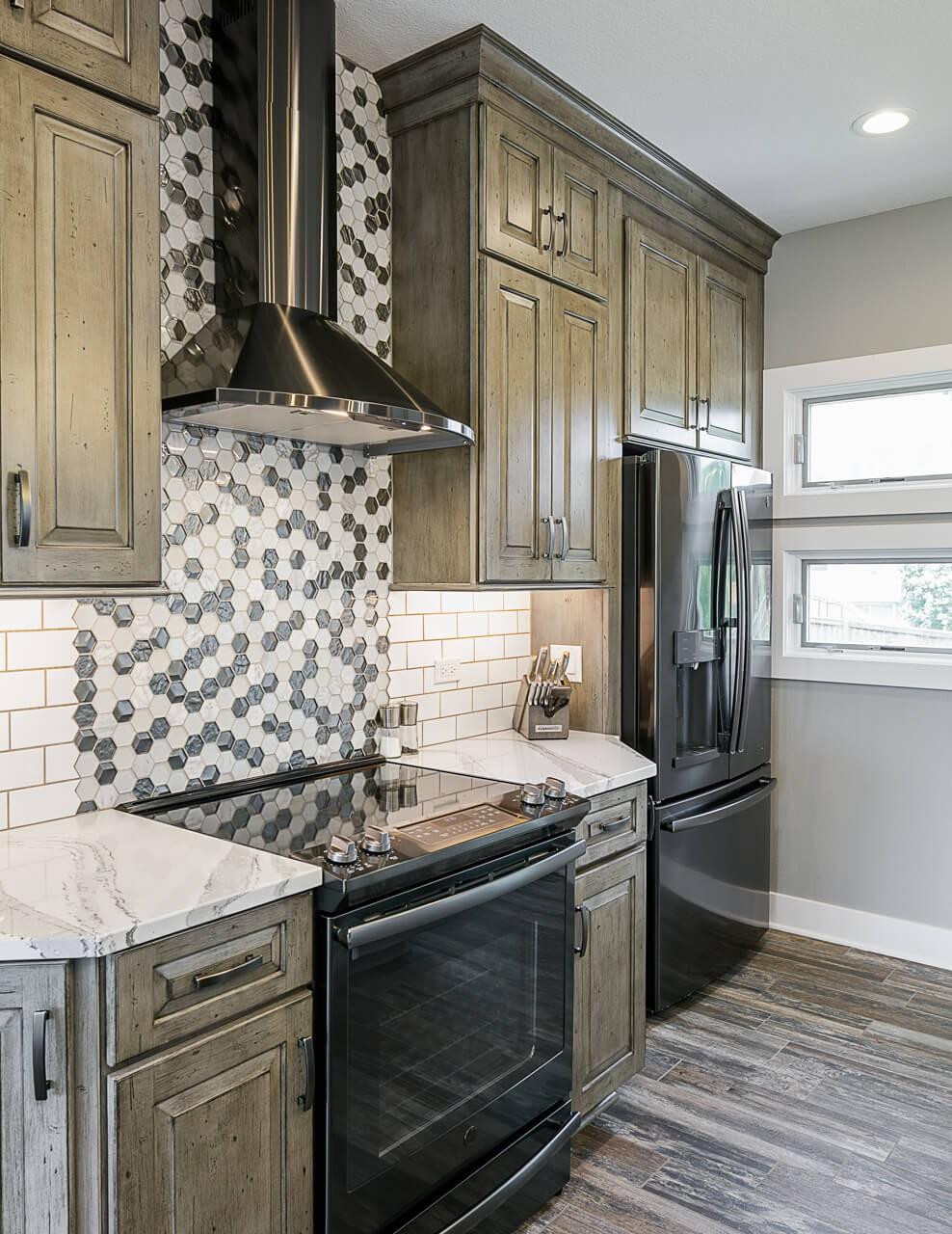 Tile backsplash in this kitchen remodel