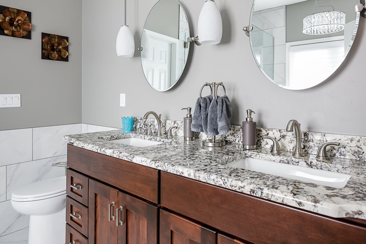 Custom cabinets and granite in this master bathroom