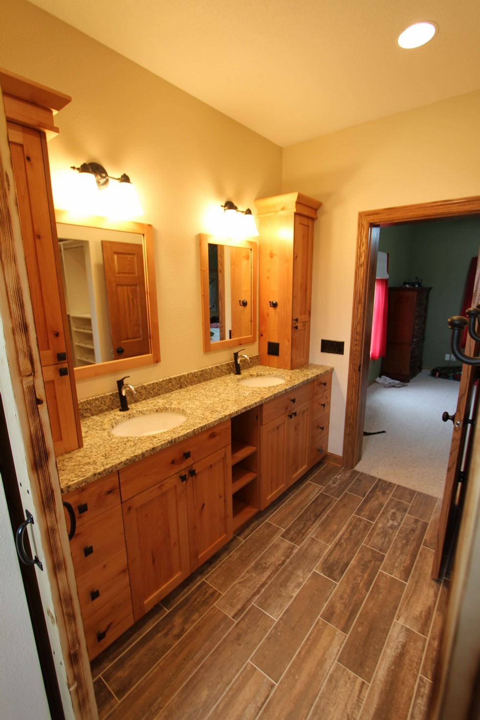 Custom cabinets and granite for this bath remodel