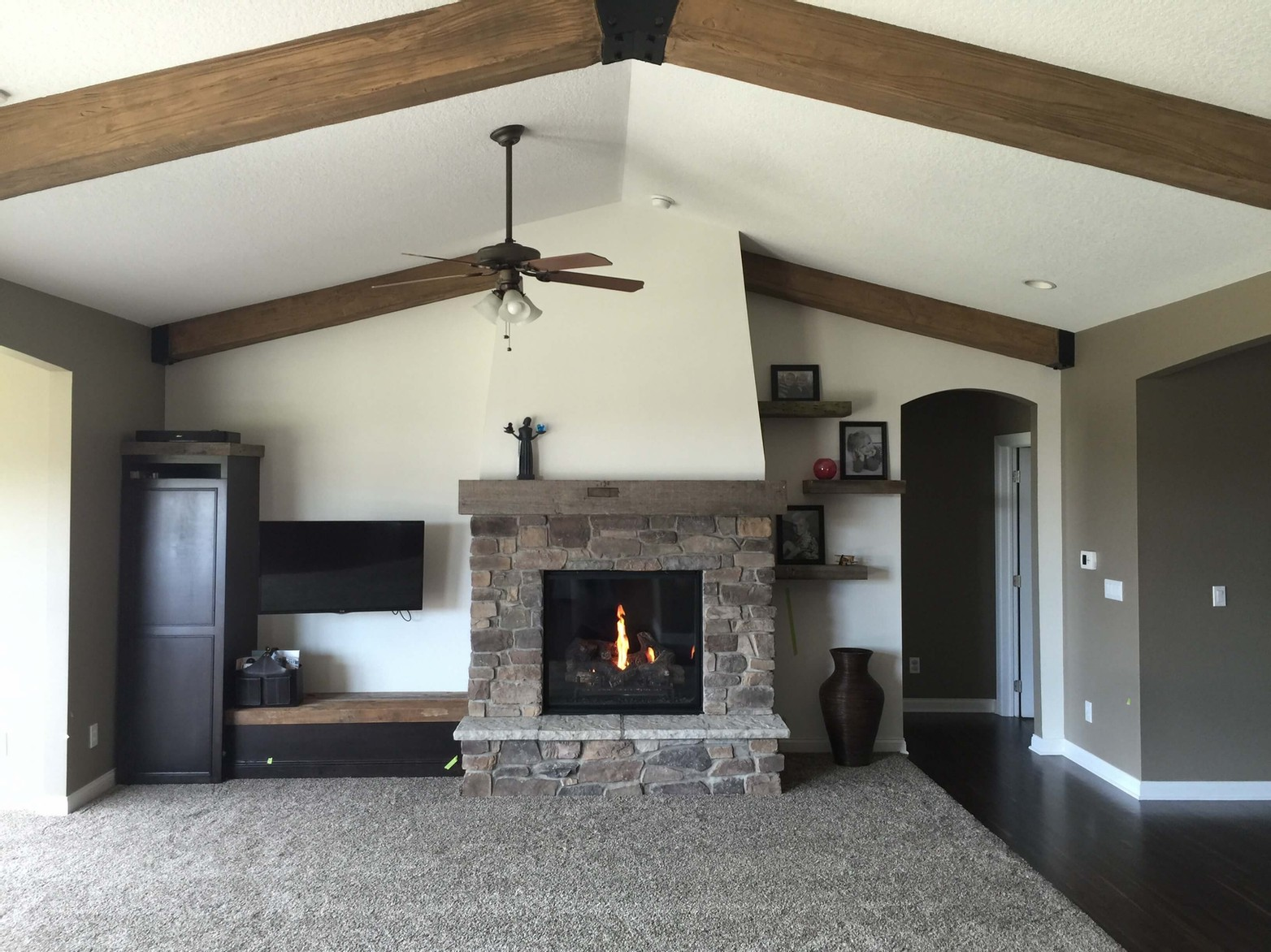 Fireplace and custom shelving