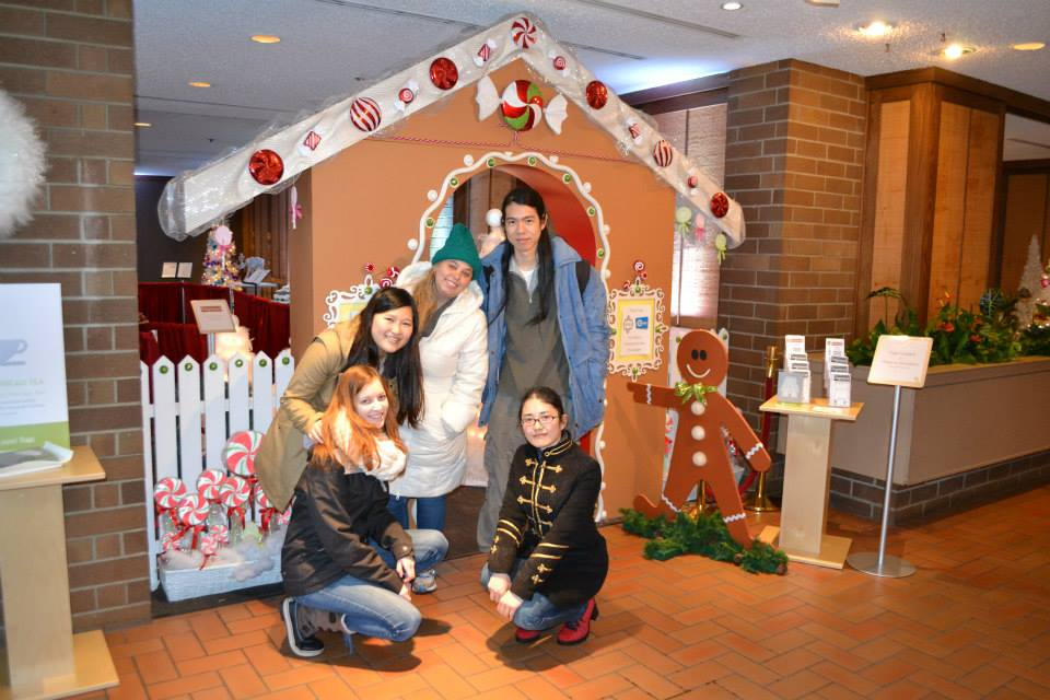 Students check out the Gingerbread display at The Parkside