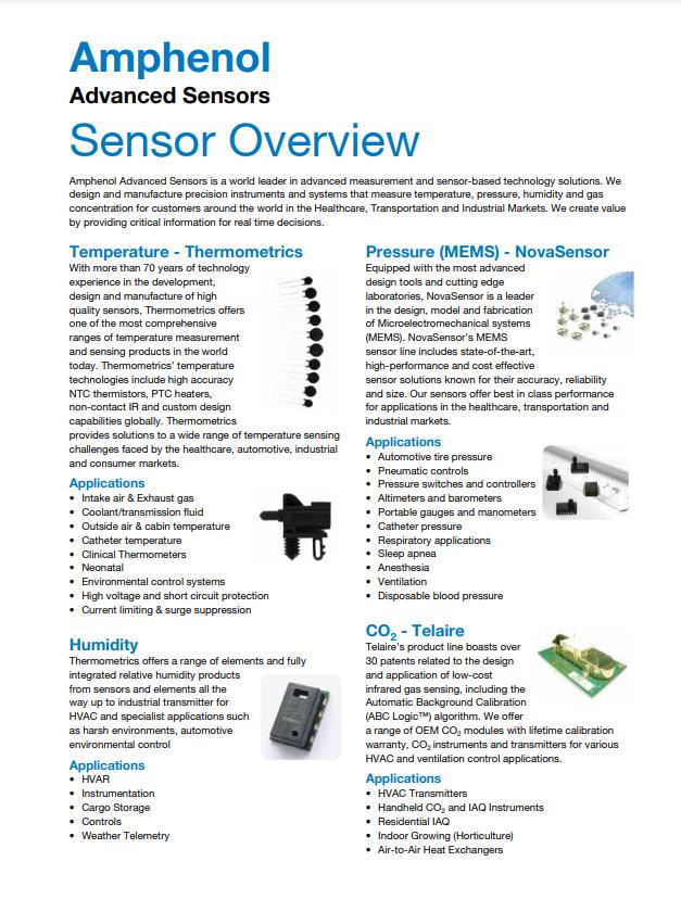 Sensor Overview | Amphenol Advanced Sensors - Brochure
