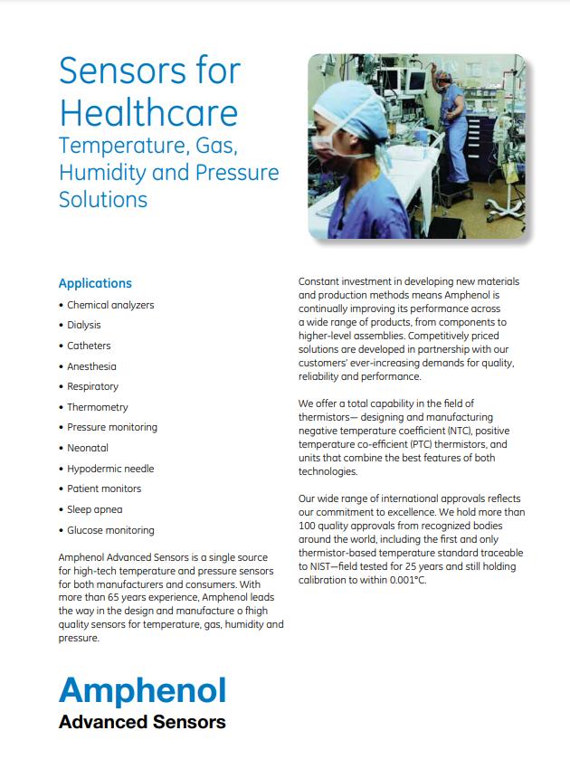 Sensors for Healthcare | Amphenol Advanced Sensors - Brochure